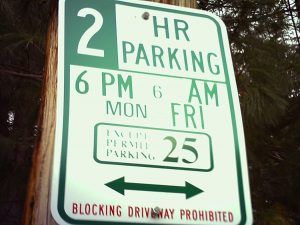 A restrictive parking sign implemented on a residential block in Fishtown
