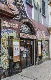 At the corner of Fifth and Huntington streets in North Philadelphia, Taller Puertorriqueño's beautifully covered facade welcomes the community.