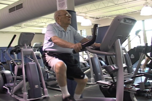 YMCA members maintain a healthy lifestyle by working out in the gym.
