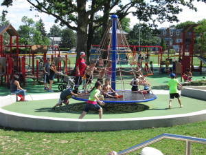 Children at Chalfont Playground enjoying the state of the art play equipment.