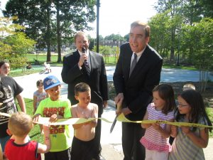 Leo Dignam, First Deputy Commissioner for Programs (left) and Councilman Brian O'Neill cut ribbon at the newly renovated Chalfont Playground.