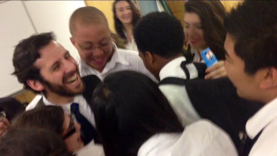 Students hugged David Sokoloff goodbye.