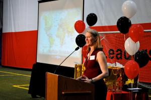 Heidi Warren, executive director of Starfinder Foundation, starts the graduation off with a speech.
