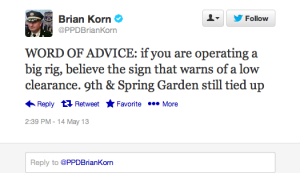 Captain Korn humorously tweeted a traffic update for his followers.