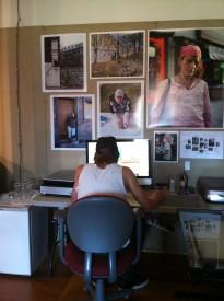 Stockbridge's desk is surrounded by Kensington Blues photos he printed himself.