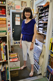 Pam Kosty volunteering at Books Through Bars.