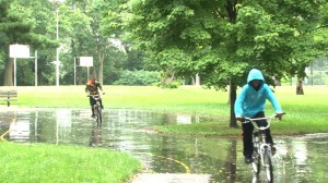 Local kids play in the park, riding their bikes along paved trails.