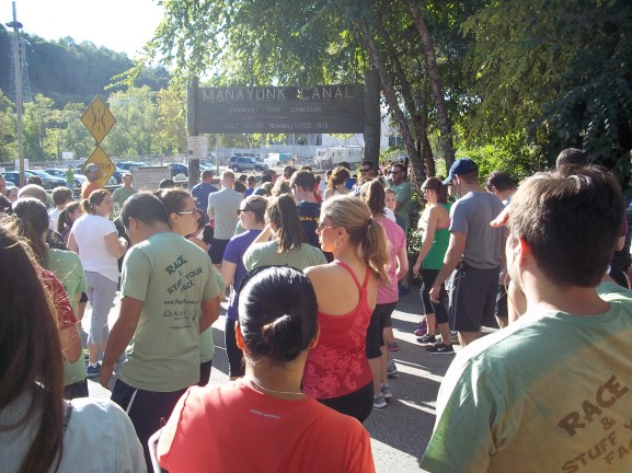 Participants gathered at the starting line getting ready to run for charity.