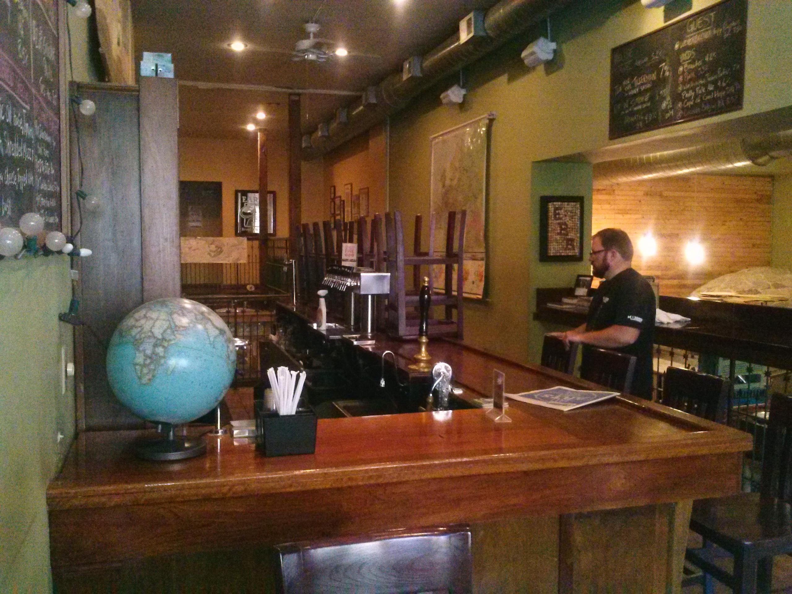 John setting up bar for customers