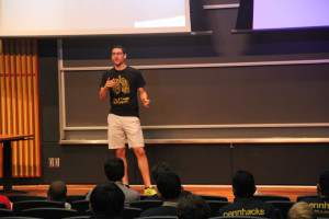 Executive Director of PennHacks, Joe Trovato hosted the demo for the finished hacks at the University of Pennsylvania.