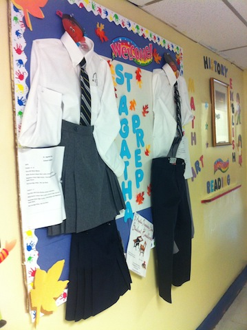 School uniforms the students will wear at St. Agatha Preparatory School.