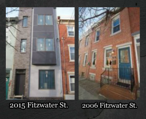 New and old homes along the Fitzwater St. block. (addresses listed below buildings)