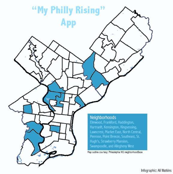 Neighborhoods targeted by myPhillyRising app.