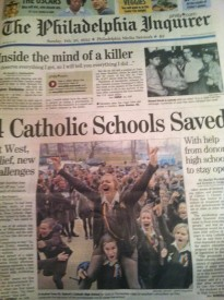 The front page of The Philadelphia Inquirer on February 25th, 2012 showed St. Hubert girls celebrating when schools were officially saved.