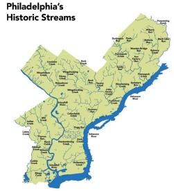The now-obliterated Wingohocking Creek and its tributaries. Courtesy Philly H2O.