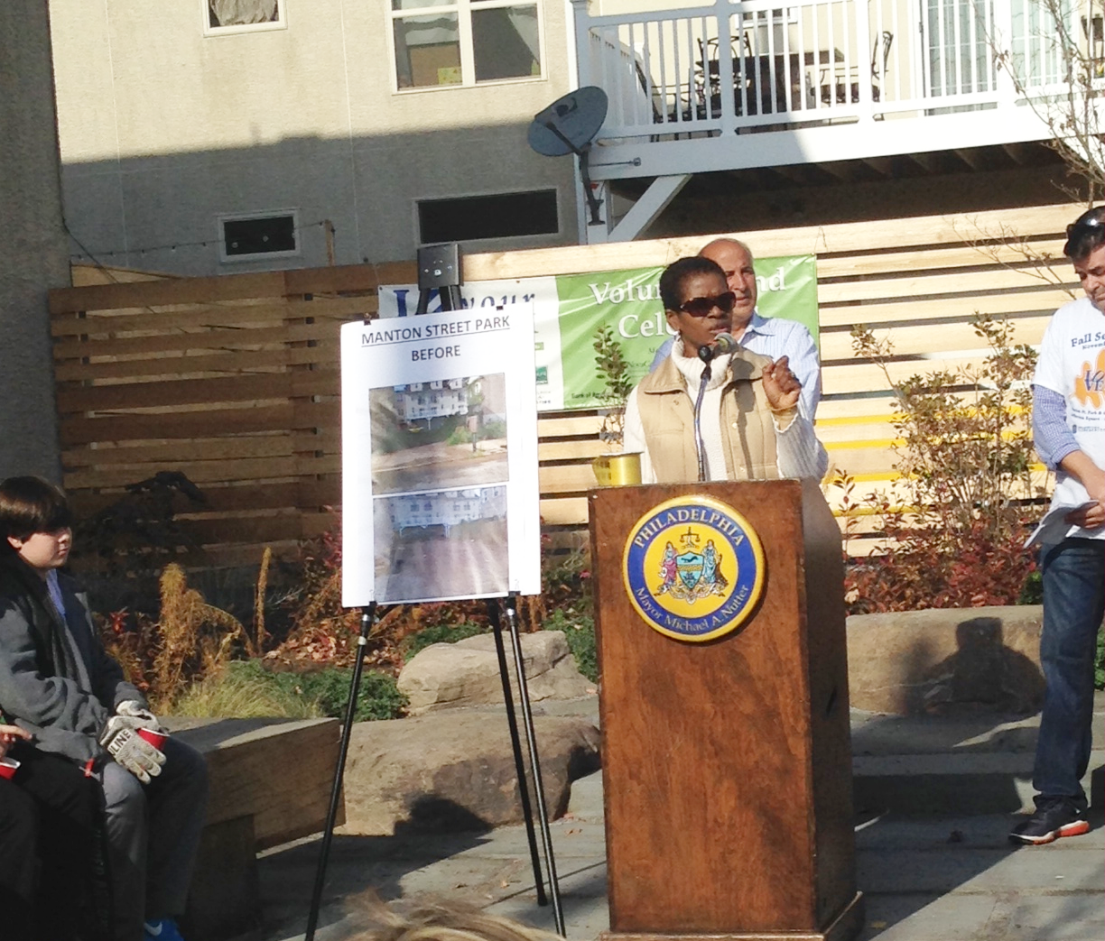 Susan Slawson spoke to residents about the importance of community voices at the Manton Street Park ribbon cutting ceremony.