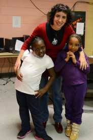 Ellie Brown posed with some of the art students at Chew Recreation Center after they finished their session for the day.