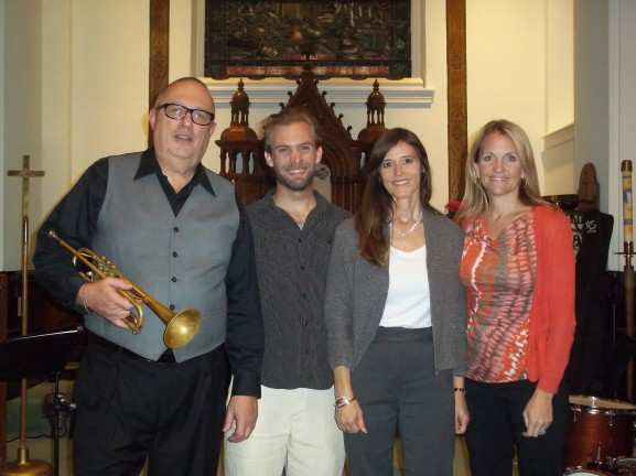 Ed Niederhiser (on left with trumpet) was joined by his band, Jazplash, at Bethany Lutheran Church.