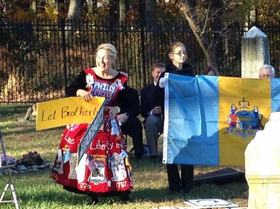 Philly Pride Lady, Brenda Exon, explained the history of Philadelphia's flag.