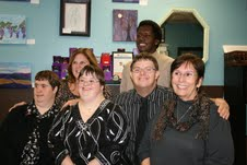 Members and coordinators of the Creative HeARTS program were present at the event. Back, from left, Director Christy Cugno and member Marvin Walston. Bottom, from left, members Kim Smith, Sarah Bosco, Todd Meyer and Executive Director Maureen A. McGlinchey.