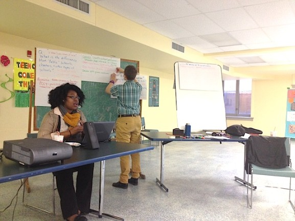 Volunteer Recruitment Coordinator, Morgan Rogers started off the conversation about the Philly schools budget crisis.