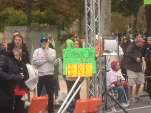 One supporter took to the finish line to congratulate runners at the Race for Hope.