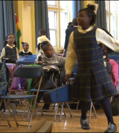 Students eagerly ran to their after school music classes.