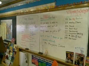 Students story ideas are displayed on the board in reading rocks as they write them down.