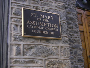 St. Mary's church still stands tall among the Manayunk hills.