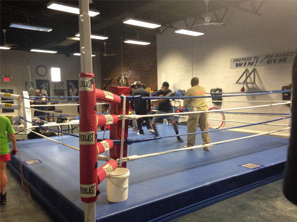 Amateur boxer Chris Sanchez trains in the ring at the Joe Hand Boxing Gym.