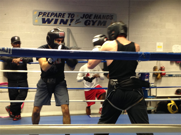 Amateur Boxer Chris Sanchez sparred with an opponent at the Joe Hand Boxing Gym.