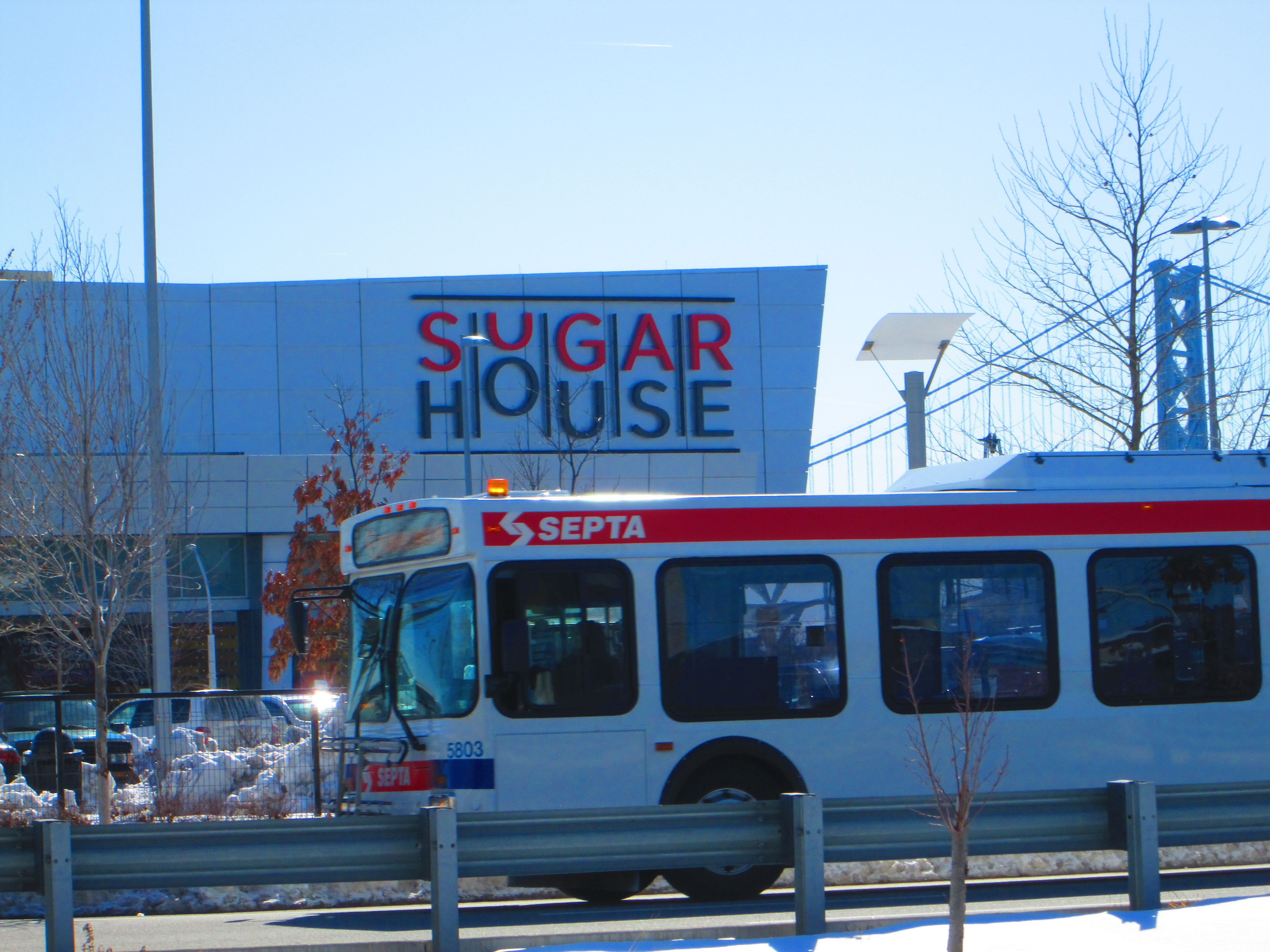 A Septa bus makes its stop in front of SugarHouse Casino