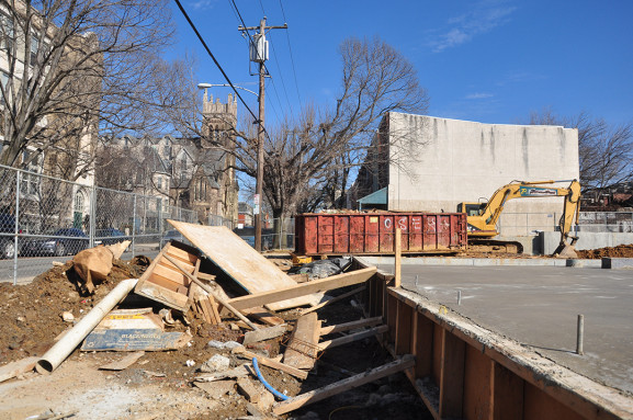 The current state of a soon to be apartment complex for students of Drexel and the University of Pennsylvania directly across from the home of Leola Barber on Spring Garden Street. |Photo: Michael Wojcik