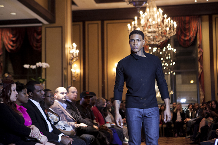 A look during Weft's runway at the Luxury Menswear Runway Show.