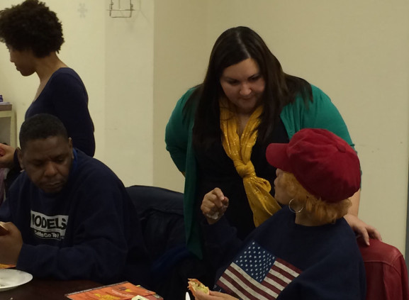 Protheroe (center) at an event in conjunction with the Free Library of Philadelphia