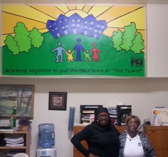 Majeedah Rashid, CEO of Nicetown CDC (left) and Ms. Mae, who runs the CDC food cupboard