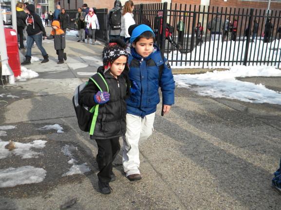 Child walks sister home
