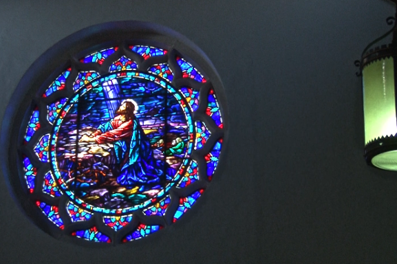 Painted glass window in the Mount Airy Presbyterian Church.