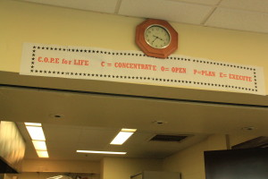 A motto displayed in the common area