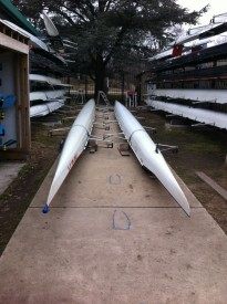 Boats used by rowers of Philadelphia City Rowing.