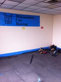 Philadelphia City Rowing's training room for rowers.