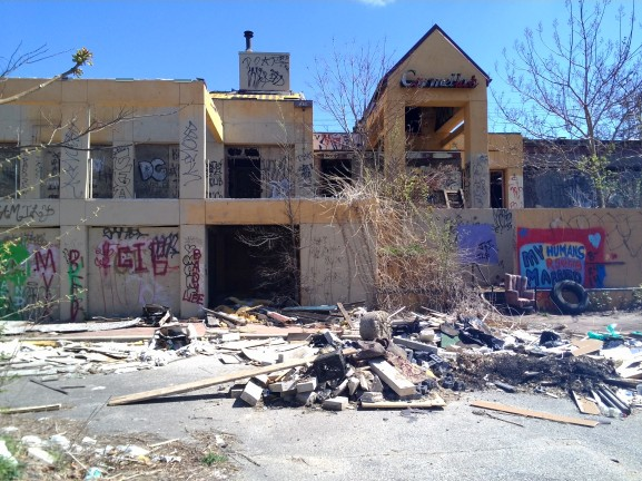 A rundown building in Manayunk situated behind the trails is an example of areas where families don't feel comfortable going.