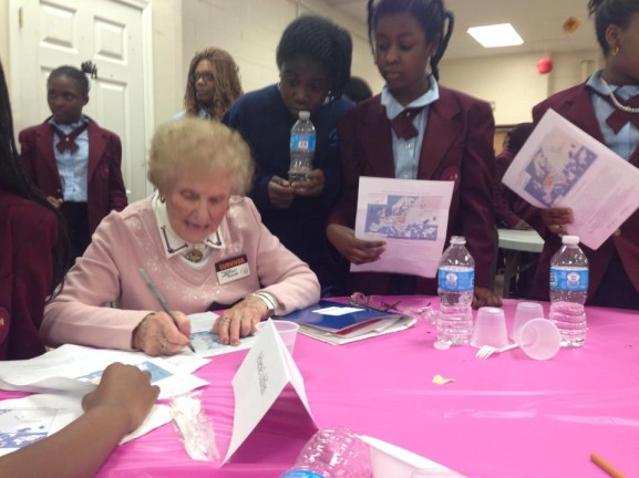 Students asked many of the Holocaust survivors for their autograph before they went back to school
