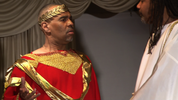 """An actor in Evelyn Graves Drama Productions plays Pontius Pilate in the company's production titled """"Behold the Man."""""""