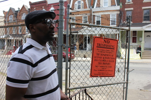 Joseph Manning is working on refurbishing an abandoned and fire-damaged house on the 200 block of Apsley Street into a community center.