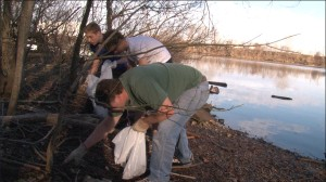 People cleaning up trash at the Schuylkill