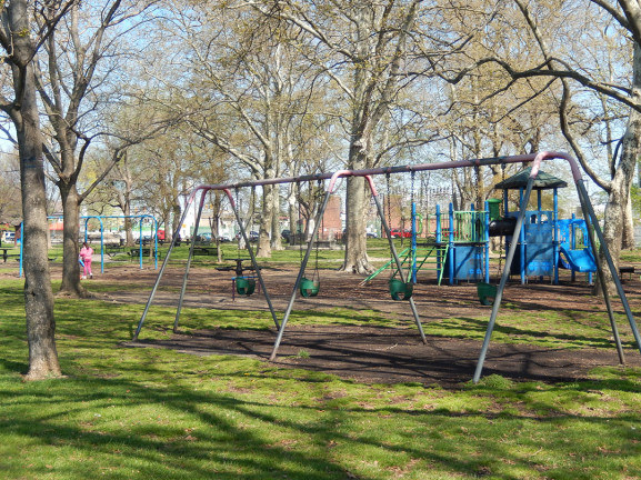 Old playground equipment at Penn Treaty Park