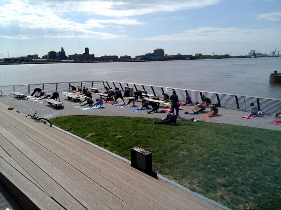 A group of approximately 30 people attended a free Yoga lesson on Sunday, May 5.