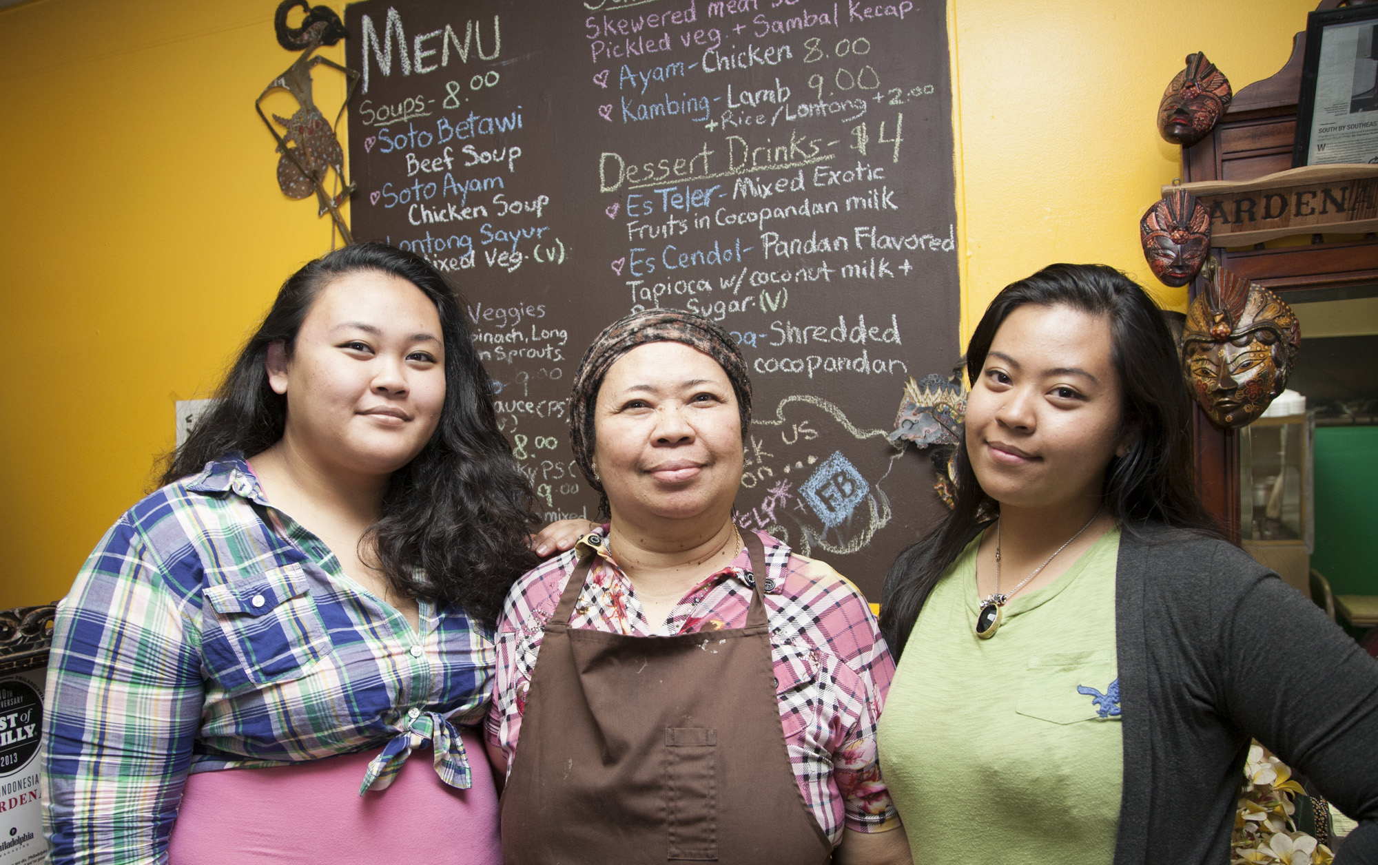 (Left to Right) Maylia, Ena, and Diana at Hardena restaurant on the 1600 block of Moore Street.