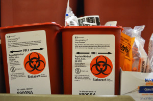 "Prevention Point's ""Cage"" was filled with boxes of new syringes, medical supplies and biohazard containers."